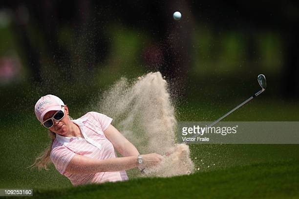 Morgan Pressel of USA plays a bunker shot on the 3rd hole during day two of the LPGA Thailand at Siam Country Club on February 18 2011 in Chon Buri...