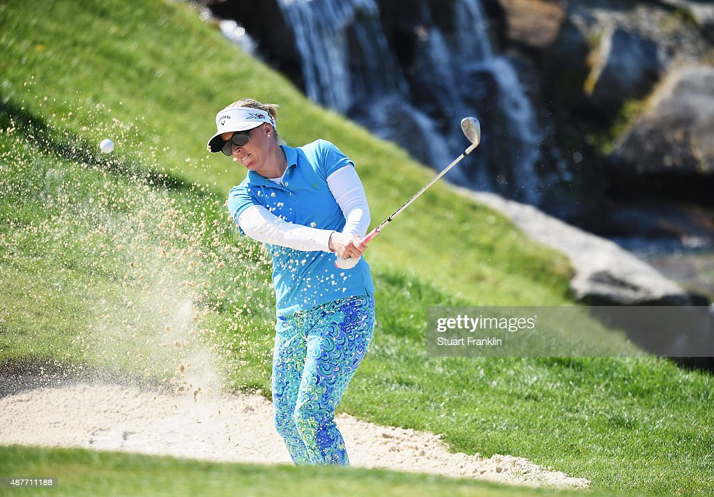 <a gi-track='captionPersonalityLinkClicked' href=/galleries/search?phrase=Morgan+Pressel&family=editorial&specificpeople=213164 ng-click='$event.stopPropagation()'>Morgan Pressel</a> of USA plays a shot during the second round of the Evian Championship Golf on September 11, 2015 in Evian-les-Bains, France.