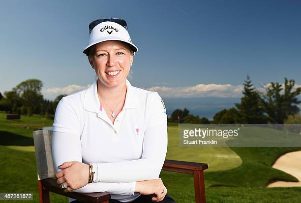 Morgan Pressel of USA poses for a picture during practice prior to the start of the Evian Championship Golf on September 8 2015 in EvianlesBains...