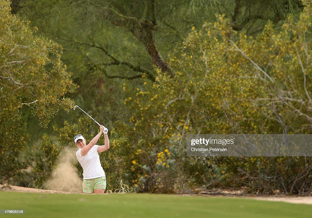 Morgan Pressel plays her second shot from the rough on the third hole during the first round of the JTBC LPGA Founders Cup at Wildfire Golf Club on March 20, 2014 in Phoenix, Arizona.