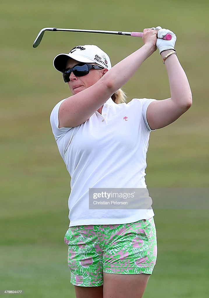 Morgan Pressel plays her second shot on the second hole during the first round of the JTBC LPGA Founders Cup at Wildfire Golf Club on March 20, 2014 in Phoenix, Arizona.