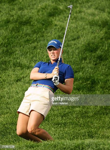 Morgan Pressel watches a pitch shot on the fourth hole during the third round of the HSBC Women's World Match Play Championship on July 8 2006 at...