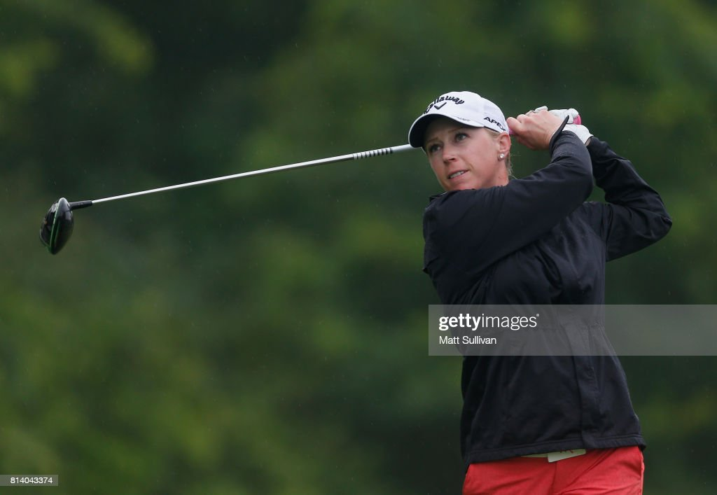 Morgan Pressel watches her tee shot on the 15th hole during the first round of the U.S. Women's Open Championship at Trump National Golf Course on July 13, 2017 in Bedminster, New Jersey.