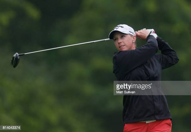 Morgan Pressel watches her tee shot on the 15th hole during the first round of the US Women's Open Championship at Trump National Golf Course on July...