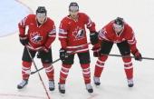 Morgan Rielly Matt Read and Jason Chimera of Canada during the 2014 IIHF World Championship between Canada and Slovakia at Chizhovka arena on May 10...