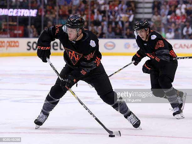 Morgan Rielly of Team North America fires a slapshot against Team Russia during the World Cup of Hockey 2016 at Air Canada Centre on September 19...