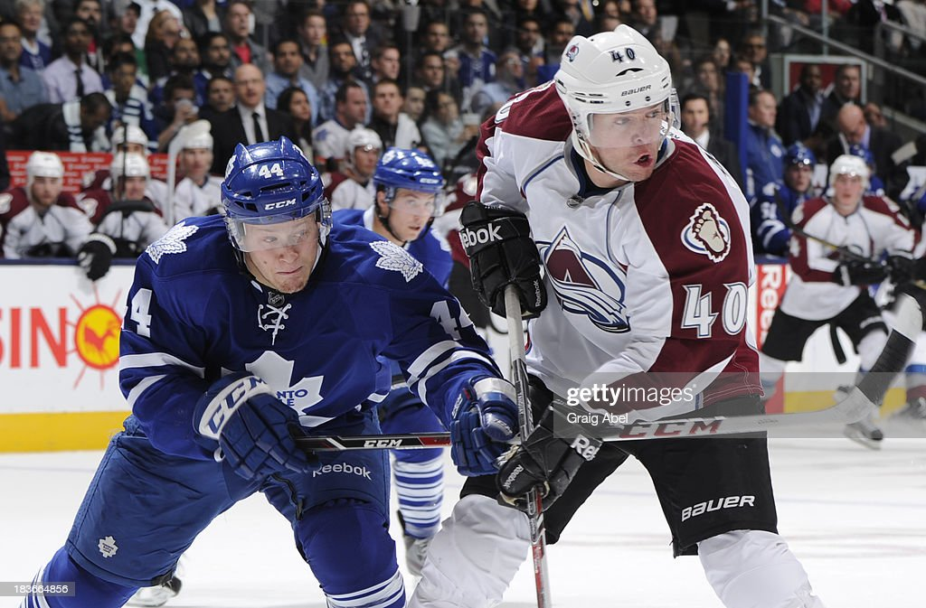 Morgan Rielly #44 of the Toronto Maple Leafs battles with Alex Tanguay #40 of the Colorado Avalanche during NHL game action October 8, 2013 at Air Canada Centre in Toronto, Ontario, Canada.
