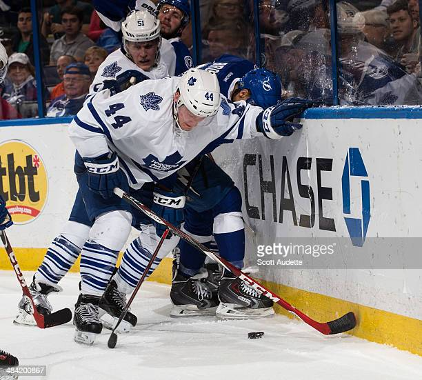 Morgan Rielly of the Toronto Maple Leafs skates against the Tampa Bay Lightning at the Tampa Bay Times Forum on April 8 2014 in Tampa Florida