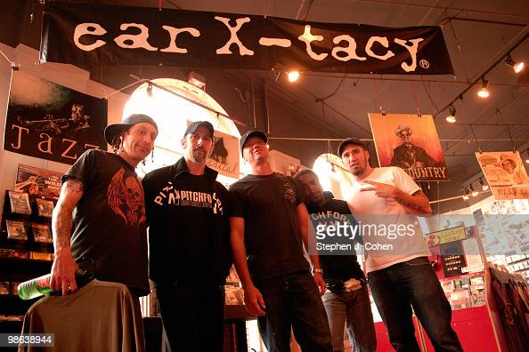 Morgan Rose John Connolly Vincent Hornsby Lajon Witherspoon and Clint Lowery attends the Sevendust signing instore at EarXTacy on April 22 2010 in...