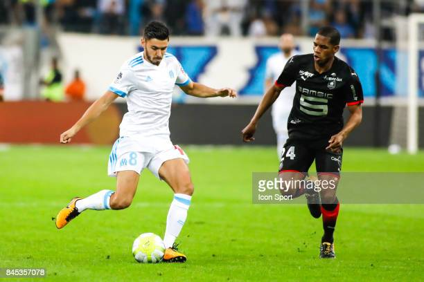 Morgan Saison of Marseille and Ludovic Baal of Rennes during the Ligue 1 match between Olympique Marseille and Stade Rennais at Stade Velodrome on...