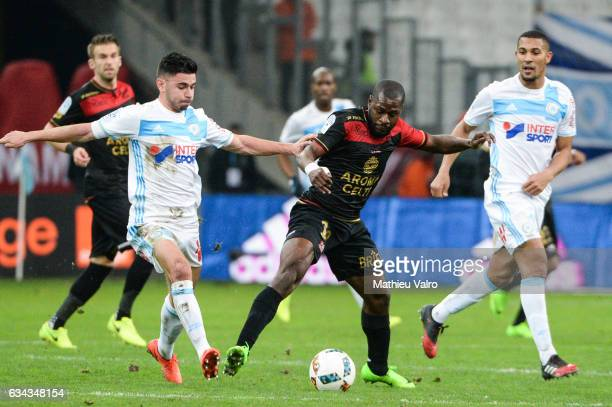 Morgan Sanson of Marseille and Yannis Salibur of Guingamp during the French Ligue 1 match between Marseille and Guingamp at Stade Velodrome on...