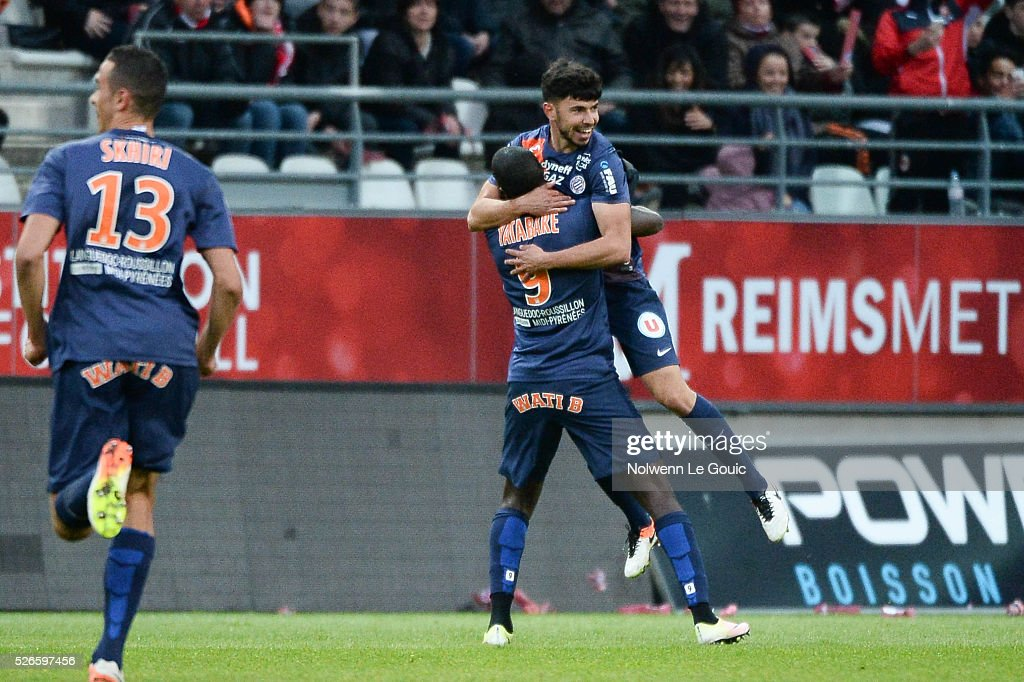 Morgan Sanson of Montpellier celebrates his goal during the French Ligue 1 match between Stade de Reims and Montpellier Herault SC at Stade Auguste Delaune on April 30, 2016 in Reims, France.