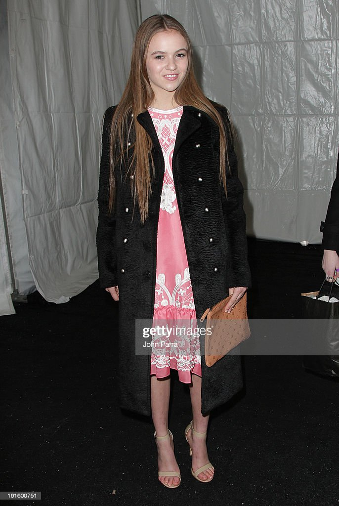 Morgan Saylor is seen during Fall 2013 Mercedes-Benz Fashion Week at Lincoln Center for the Performing Arts on February 12, 2013 in New York City.