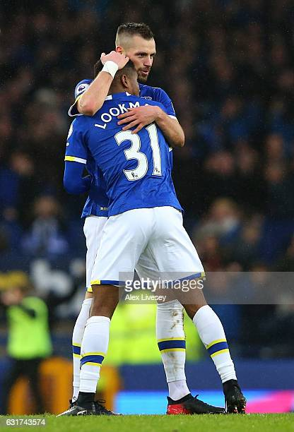 Morgan Schneiderlin and Ademola Lookman of Everton celebrate their team's 40 victory during the Premier League match between Everton and Manchester...