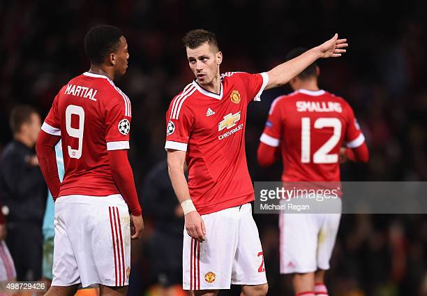 Morgan Schneiderlin and Anthony Martial of Manchester United in discussion after the UEFA Champions League Group B match between Manchester United FC...