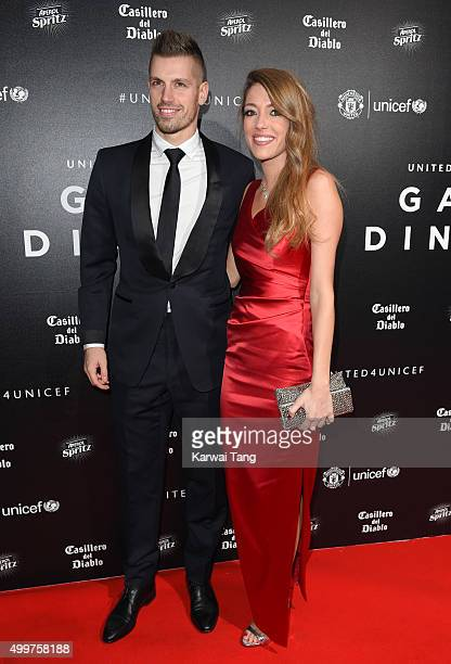 Morgan Schneiderlin and Camile Sold attend the United for UNICEF Gala Dinner at Old Trafford on November 29 2015 in Manchester England