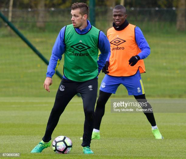 Morgan Schneiderlin and Enner Valencia during the Everton training session at USM Finch Farm on April 20 2017 in Halewood England