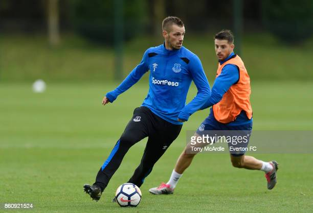 Morgan Schneiderlin and Kevin Mirallas during the Everton training session at USM Finch Farm on October 13 2017 in Halewood England