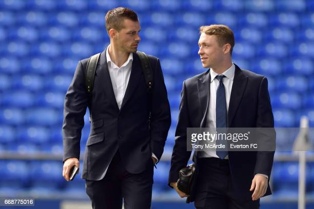 Morgan Schneiderlin and Matthew Pennington arrive before the Premier League match between Everton and Burnley at Goodison Park on April 15 2017 in...