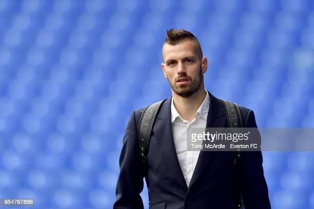 Morgan Schneiderlin arrives before the Premier League match between Everton and Hull City at the Goodison Park on March 18 2017 in Liverpool England