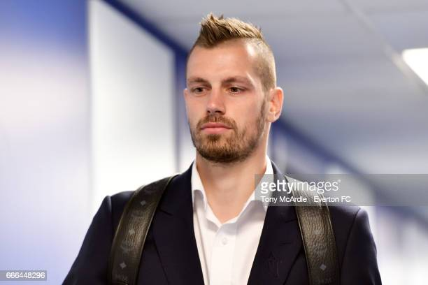 Morgan Schneiderlin arrives before the Premier League match between Everton and Leicester City at Goodison Park on April 9 2017 in Liverpool England
