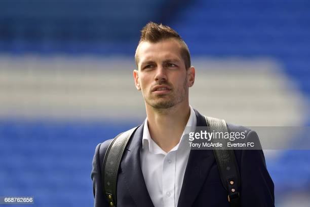 Morgan Schneiderlin arrives before the Premier League match between Everton and Burnley at Goodison Park on April 15 2017 in Liverpool England