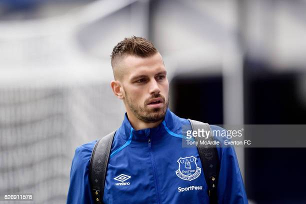 Morgan Schneiderlin arrives for the Pre Season Friendly match between Everton and Sevilla at Goodison Park on August 6 2017 in Liverpool England