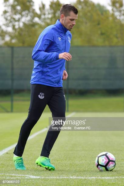 Morgan Schneiderlin during the Everton training session at USM Finch Farm on April 20 2017 in Halewood England