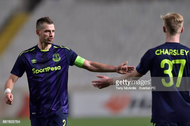 Morgan Schneiderlin encourages Harry Charsley during the UEFA Europa League Group E match between Apollon Limassol and Everton at GSP Stadium on...