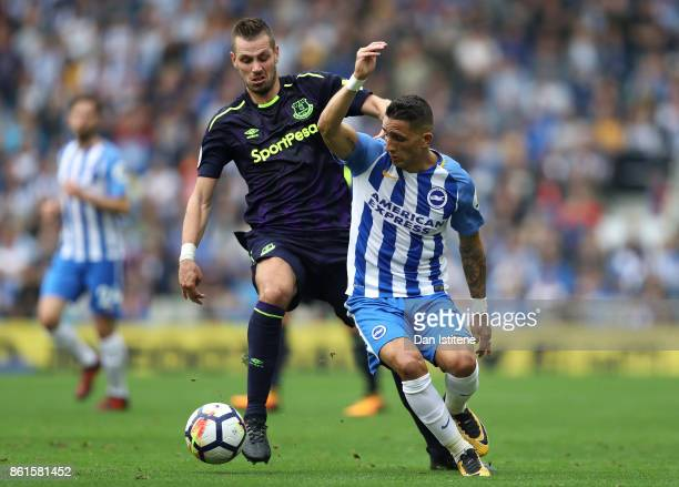 Morgan Schneiderlin of Everton and Anthony Knockaert of Brighton and Hove Albion in action during the Premier League match between Brighton and Hove...
