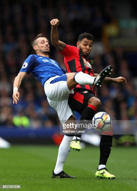 Morgan Schneiderlin of Everton and Joshua King of AFC Bournemouth compete for the ball during the Premier League match between Everton and AFC...