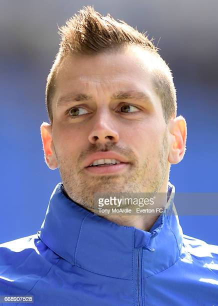 Morgan Schneiderlin of Everton before the Premier League match between Everton and Burnley at Goodison Park on April 15 2017 in Liverpool England