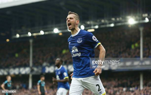 Morgan Schneiderlin of Everton celebrates scoring his sides second goal during the Premier League match between Everton and West Bromwich Albion at...