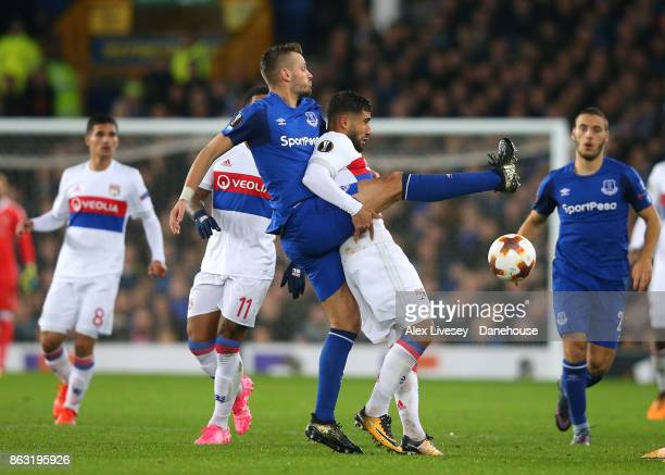 Morgan Schneiderlin of Everton FC challenges Nabil Fekir of Olympique Lyon during the UEFA Europa League group E match between Everton FC and...