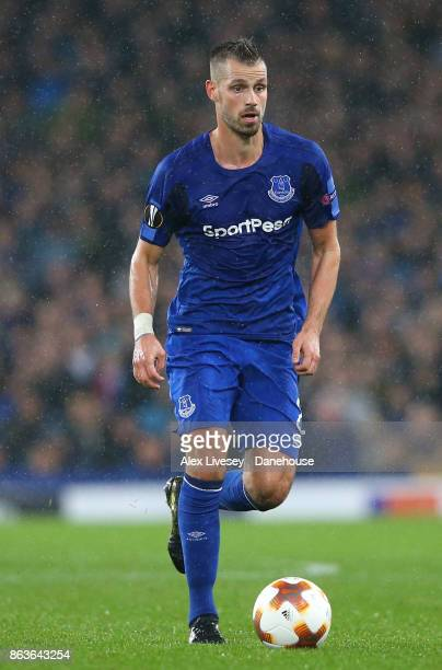 Morgan Schneiderlin of Everton FC during the UEFA Europa League group E match between Everton FC and Olympique Lyon at Goodison Park on October 19...