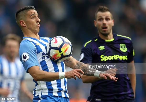 Morgan Schneiderlin of Everton looks on as Anthony Knockaert of Brighton and Hove Albion controls on his chest during the Premier League match...