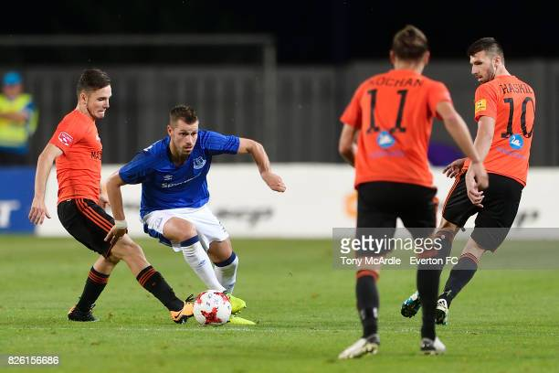 Morgan Schneiderlin of Everton on the bal during UEFA Europa League Qualifier match between MFK Ruzomberok and Everton on August 3 2017 in Ruzomberok...