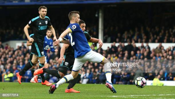 Morgan Schneiderlin of Everton scores his sides second goal during the Premier League match between Everton and West Bromwich Albion at Goodison Park...