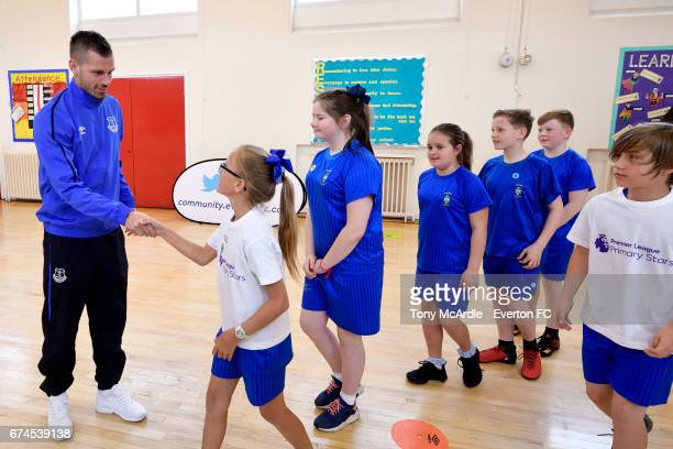 Morgan Schneiderlin of Everton takes part in a Premier League Primary Stars event on April 25 2016 in Liverpool England
