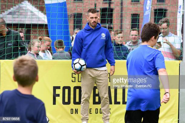 Morgan Schneiderlin of Everton takes part in an Everton In The Community event on August 7 2017 in Liverpool England