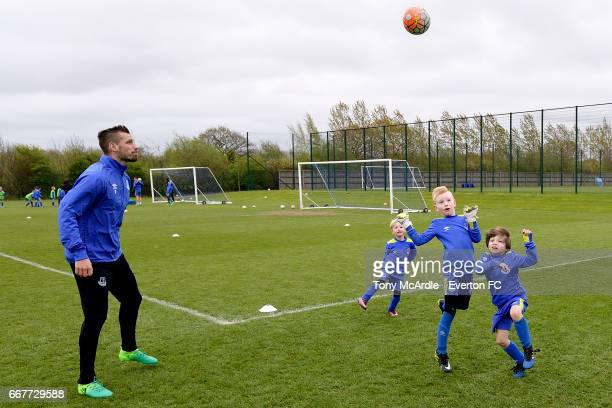 Morgan Schneiderlin of Everton trains with the Everton Academy at USM Finch Farm on April 12 2017 in Halewood England