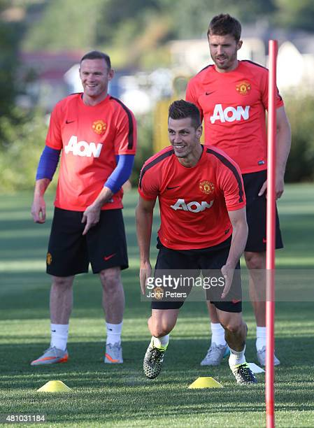 Morgan Schneiderlin of Manchester United in action during a first team training session as part of their preseason tour of the USA at VMAC on July 16...