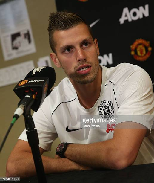 Morgan Schneiderlin of Manchester United speaks during a press conference to unveil Bastian Schweinsteiger Morgan Schneiderlin and Matteo Darmian as...
