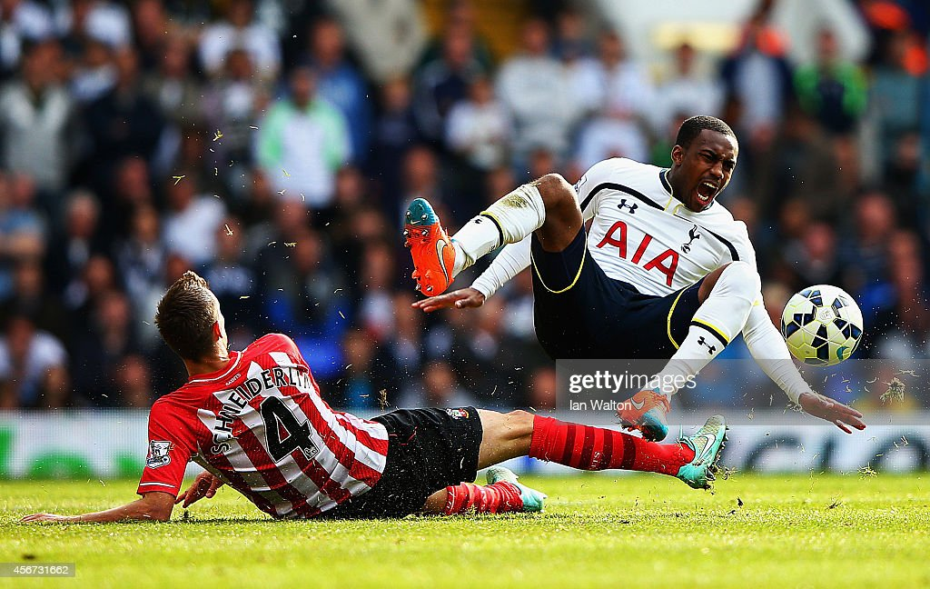 Morgan Schneiderlin of Southampton challenges Danny Rose of Spurs during the Barclays Premier League match between Tottenham Hotspur and Southampton...