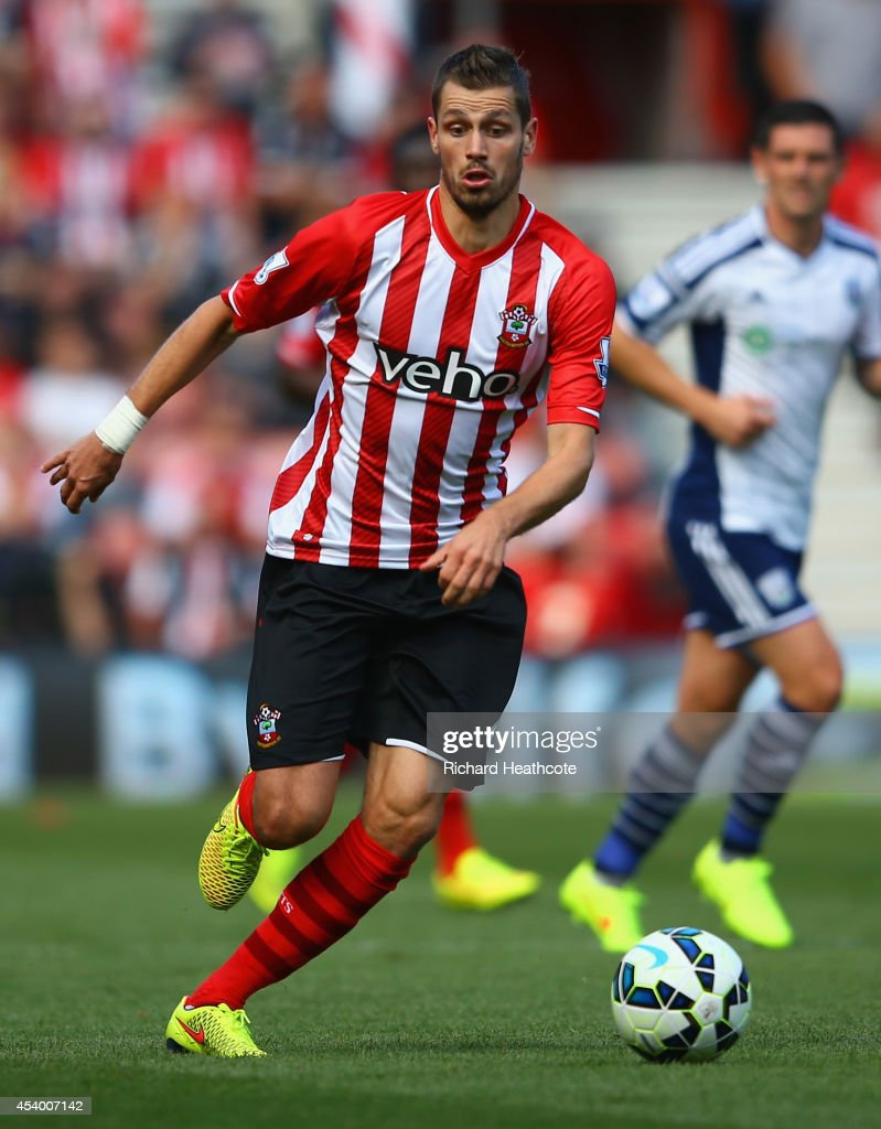 Morgan Schneiderlin of Southampton on the ball during the Barclays Premier League match between Southampton and West Bromwich Albion at St Mary's Stadium on August 23, 2014 in Southampton, England.