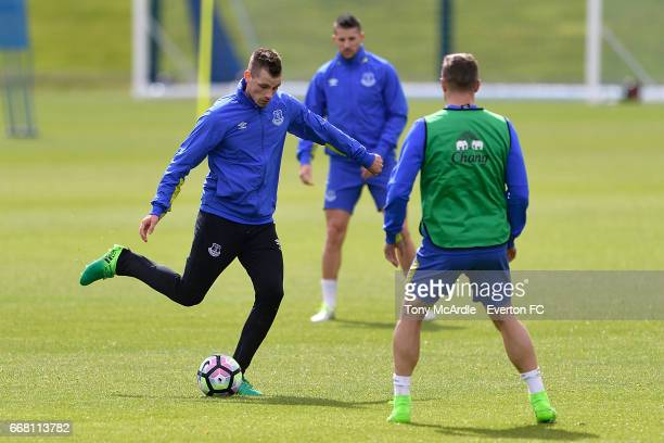 Morgan Schneiderlin on the ball during the Everton FC training session at USM Finch Farm on April 13 2017 in Halewood England