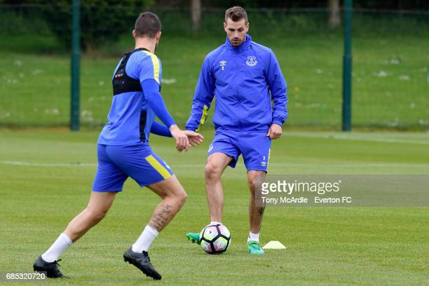 Morgan Schneiderlin on the ball during the Everton FC training session at USM Finch Farm on May 19 2017 in Halewood England