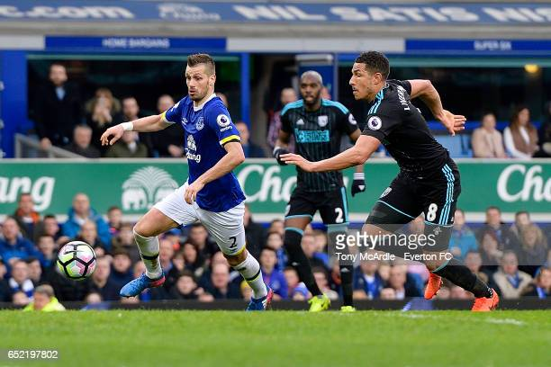 Morgan Schneiderlin on the ball during the Premier League match between Everton and West Bromwich Albion at the Goodison Park on March 11 2017 in...