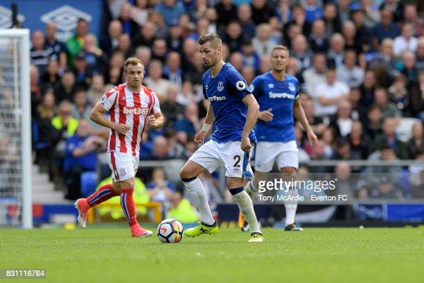Morgan Schneiderlin on the ball during the Premier League match between Everton and Stoke City at Goodison Park on August 12 2017 in Liverpool England