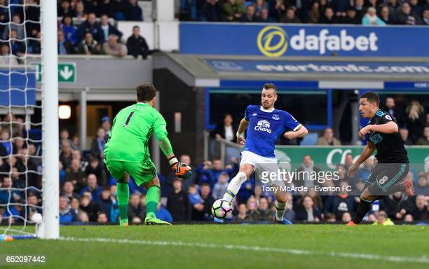 Morgan Schneiderlin shoots to score during the Premier League match between Everton and West Bromwich Albion at the Goodison Park on March 11 2017 in...